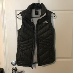 Black North Face goose feather vest